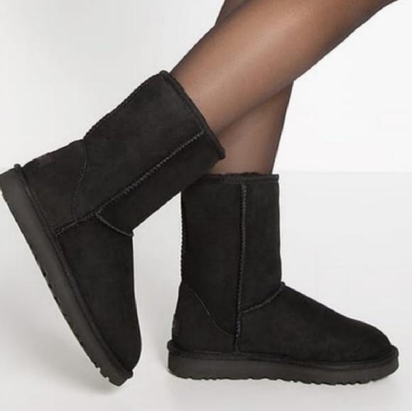 b1642363df0 UGG Classic Short Black Suede Sheepskin Boots 6